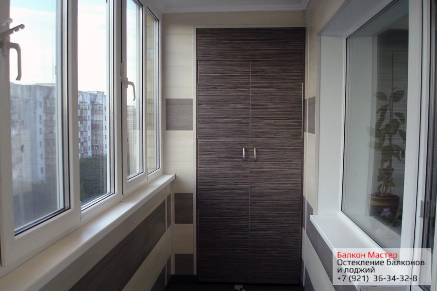 Остекление с отделкой.Комплексное остекление с внутренней отделкой и монтажом встроенного шкафа на этом балконе составила 45400руб.